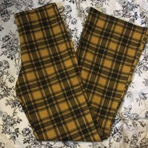 Yellow Plaid Bell-Bottoms Elastic Waist